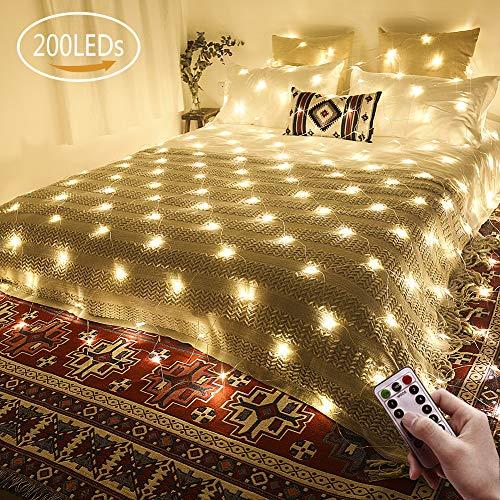 LED Lichternetz 3x2m 200 LEDs Ollny Lichterkette mit Fernbedienung & Timer 8 Modi für Weihnachten Partydekoration Geburstag Hochzeit Wohnzimmer Kinderzimmer,anschließbar-bis zu 3 Sätze
