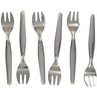 Fackelmann 32133 Lot de 6 fourchettes à huîtres, Acier Inoxydable, Gris, 17 x 8 x 2 cm