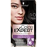 Schwarzkopf Color Expert Black Hair Dye Permanent, Up to 100% Grey Hair Coverage & Protect with Omegaplex - 1-0 Natural Black