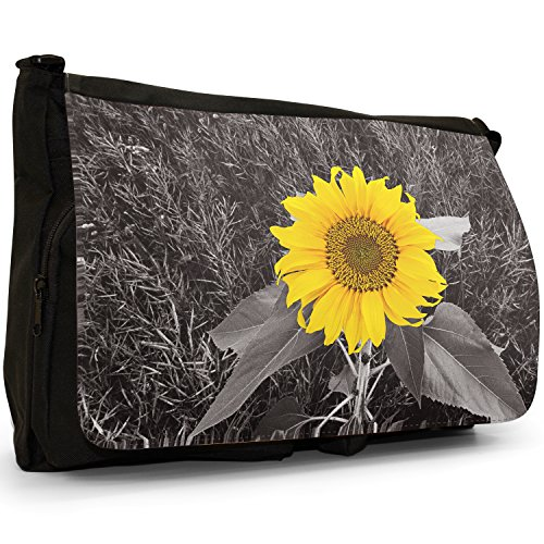 Fancy A Bag Borsa Messenger nero Sunflowers Fields Bright Yellow Sunflower In Grey Fields