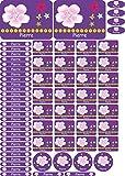 INDIGOS UG Namensaufkleber/Sticker - A4-Bogen - 081 - Blume - 69 Sticker für Kinder, Schule und Kindergarten - Stifte, Federmappe, Lineale - auch für Erwachsene - individueller Aufdruck