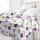 #4: Cloud Mart Violet Floral Design Reversible Double Bed Quilt/AC Blanket/Dohar