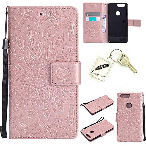 Preisvergleich Produktbild Silikonsoftshell PU Hülle für Huawei Honor 8 (5, 2 Zoll) Tasche Schutz Hülle Case Cover Etui Strass Schutz schutzhülle Bumper Schale Silicone case+Exquisite key chain X1 KD (2) (7)
