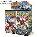 #2: Day All New Pokeemon Cards are here Pokemon Trading Card Game- 5 Packs (Random) (Steeam Siege)