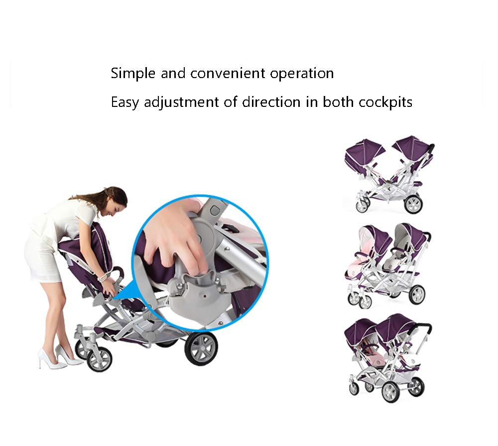 Baby Strollers Double Pushchair Twins Tandem Pushchairs, Reversible Seat Convertible Front And Rear Seats Lightweight with Convertible Bassinet Stroller Extended Canopy/Large Storage Basket,Pink MYRCLMY ♥TWIN STROLLER: Getting everywhere with two little ones has never been easier, thanks to the Double Strollers; you can glide around town even when you only have one hand free to steer; you can even roll through a standard size doorway. ♥ADJUSTABLE BACKREST & CONNECTABLE SEATS :The backrest can adjust to fit baby's sleep posture to keep comfortable sleeping. Two seats can be connected to lengthen the seat. ♥SAFETY WHEELS & 5-POINT SAFETY BELTS:The springs in front wheels absorb shocks for easy to control direction and safety. The 5-point safety belt is equipped with each seat to ensure security while keeping your baby fit to the safety belt to feel comfortable. 5