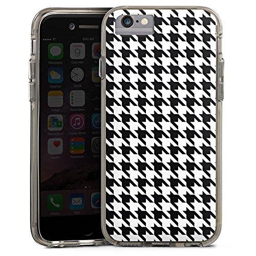 Apple iPhone 7 Bumper Hülle Bumper Case Glitzer Hülle Black and White Hahnentritt Karo Bumper Case transparent grau
