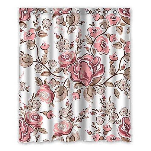 Pflanzen, Schöne Blume auf schwarzem Hintergrund isoliert Duschvorhänge, Polyester Stoff, Maschinenwäsche, Umweltfreundliche, Größe: 152 cm x183 cm (60