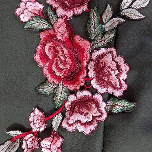 Bliefescher Femme Cardigan à Manches Longues Elégante Gilet Ouvert Fluide Asymétrique Broderie Floral Avec Ceinture Vert