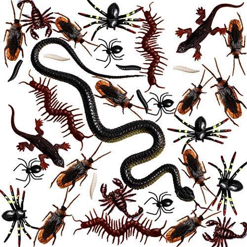 Whaline 148 Stück Plastik Realistische Bugs der erste April gefälschte Snake Schaben Spinnen Worms Scorpions und Gecko für Halloween-Party-Bevorzugungen und Dekoration
