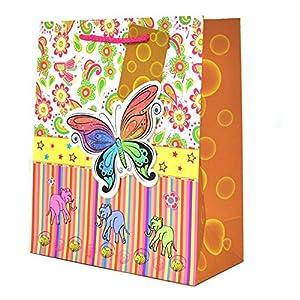 Gifts 4 All Occasions Limited SHATCHI-529 3PK - Bolsas de regalo de papel decorativas, diseño de mariposas deslumbrantes para bodas, Navidad, fiestas de cumpleaños, multicolor