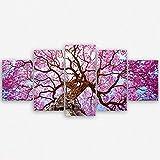 ge Bildet® hochwertiges Leinwandbild XXL Pflanzen Bilder - Rosa Lapacho Baum in Pocone - Brasilien - Natur Baum Pink Lila - 150 x 70 cm mehrteilig ( 5 teilig )| Wanddeko Wandbild Wandbilder Wohnzimmer deko Bild | 2206 B