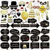 56 PCs 30ème anniversaire Photobooth props, konsait bricolage Photo Booth Masquerade Accessoires Unisexe kit avec bâton, 30 ans anniversaire decoration, montage facile