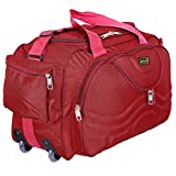 #1: alfisha Unisex Synthetic Lightweight Waterproof Luggage Travel Duffel Bag with Roller wheels (Gala Red, AFB-DUF-16)