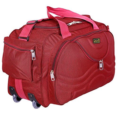 alfisha Lightweight Waterproof Luggage Travel Duffel Bag with Roller Wheels - Gala Red