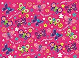 2 Sheets Girl's Hot Pink & Lilac Butterfly Birthday Wrapping Paper & 1 Gift Tag