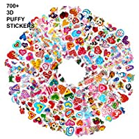 Howaf 48 Sheets 3D Variety Puffy Stickers Pack for Children Toddlers 700+ Pcs Coloured Sea Animals Mermaid Heart Stickers for Kids Girls Boys Scrapbooking Rewarding Gifts, Crafts Reusable Stickers