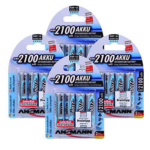 Ansmann Piles Réchargeables NiMH AA/HR06 (Mignon) Pré-Chargées maxE Type AA 2100mAh 16 Piles
