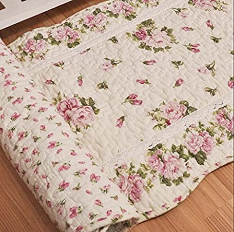 Ustide Rustic Rose Flowers Throw Mats, Home Decor Cotton Pink Rose Bedroom Floor Rugs, Quilted Non-slip Washable Bathroom Mat 2x4