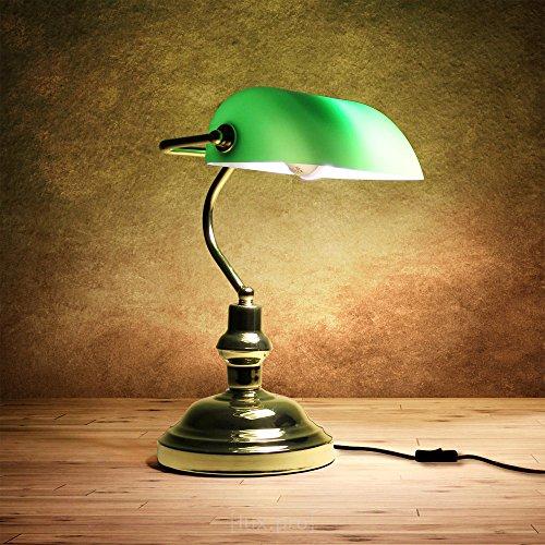 [lux.pro] Tischlampe, Tischleuchte im britischen Kolonial-Look (37cm x 17cm) Nachttischlampe Schreibtischlampe (1 x E27 Sockel)