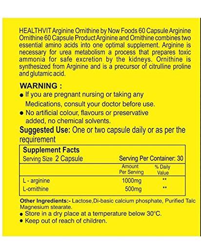 Healthvit Fitness L-Arginine and L-Ornithine 1500 mg – 60 Capsules