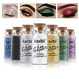 Glitzer Lidschattenpuder Glitter Staub Pigmente Powder Cosmetic Fine Funkeln Dust für Augen Lippe Gesicht Make-up (Rot)