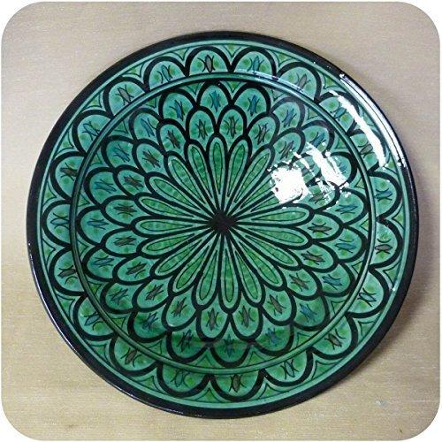 Simandra Orientalischer Keramik Teller handbemalt marokkanische Keramikschüssel Wandteller groß Color Grün