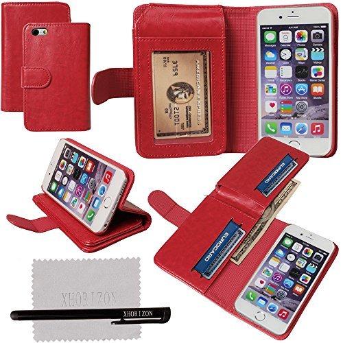 """xhorizon® Luxus Leder Brieftasche Geld Kartenhalter Stand Case Hülle Tasche für 4.7"""" iPhone 6 Rot"""