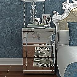 Anaelle Panana Table de Chevet Miroir en Verre Meuble de Rangement avec 3 Tiroirs sur Salon, Chambre, Bureau, 40 x 40 x 60 cm