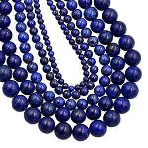AD Perlen natürlich glatter Edelstein Rund Lose Perlen 38,1cm 4mm 6mm 8mm 10mm 4mm Blue Lapis