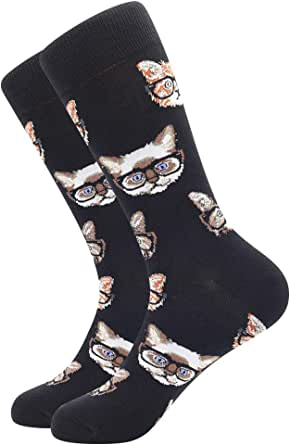 Men's Cotton Socks Finest Combed Cotton Socks, Cool Dress Socks Mid Calf Funky Solid & Patterned Dress Socks Smart Breathable Socks Classic Crew Socks