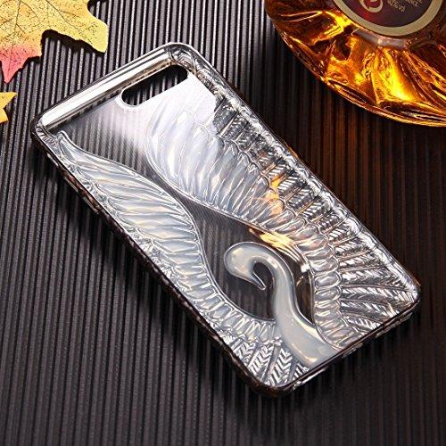 Hülle für iPhone 7 plus , Schutzhülle Für iPhone 7 Plus Embossed Swan Pattern Galvanisieren TPU Schutzhülle Fall ,hülle für iPhone 7 plus , case for iphone 7 plus ( Color : Rose gold ) Black