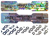DOGBONE/DUMBELL Hologram NUMBERED Stickers, 45mm x 10mm, Silver Labels, Tamper-Evident, Secure, Valid, Authentic, Warranty, Security