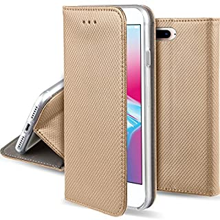 Moozy Hülle Flip Case für iPhone 8 Plus/iPhone 7 Plus, Gold - Dünne magnetische Klapphülle Handyhülle mit Standfunktion
