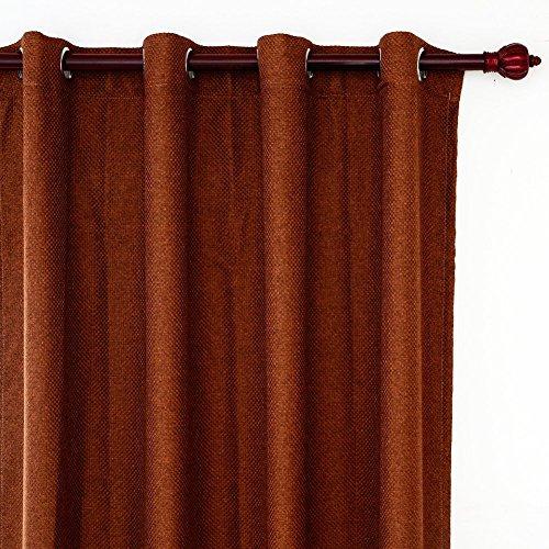 Top Finel cortina termica aislante de tratamientos para ventana panele imitacion de lino grueso sš®lido Blackout/opaca con ojales arriba,marron,140 x 215,Solo