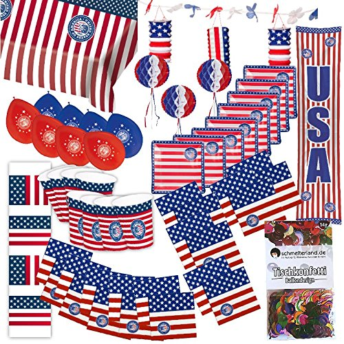 Partybox USA Amerika Party 50-teilig Deko Stars and Stripes Partypaket
