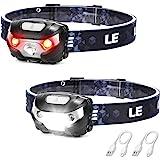 LE USB-oplaadbare voorhoofdlamp, LED-hoofdlamp met 5 lichtstanden schijnwerper en rood licht, IPX4 spatwaterdichte behuizing,