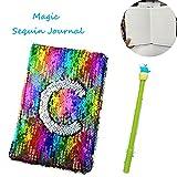 Carnet de notes à paillettes réversible 2 couleurs Sirène Carnet de voyage magique pour adultes et enfants rainbow