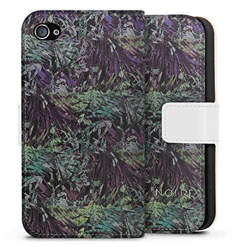 Apple iPhone X Silikon Hülle Case Schutzhülle BARRE NOIRE Blumen dschungel Sideflip Tasche weiß