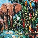 Bunter Stoff mit Elefanten und Papageien von Robert Kaufman