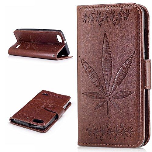 Pour Huawei Honor 4C Case Cover, Premium Soft TPU / PU En Cuir Gravé En Érable Pattern Wallet Case Avec Holder & Cash Card Slots & Lanyard ( Color : Rose Gold ) Brown