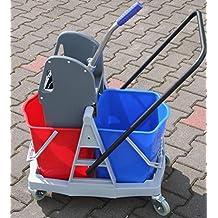 Carro doble plástico carrito de limpieza (conducción Cubo con eje 2x 20l)