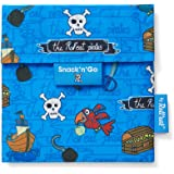 Roll'eat - Snack'n'Go Kids | Bolsa Merienda Infantil Porta Sandwich Reutilizable y Ecológico sin BPA, Piratas Azul