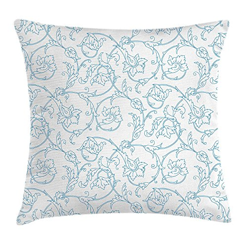 ZTLKFL Floral Throw Pillow Cushion Cover, Flower Orchids Bohemian Style Vintage Petals Vines Pattern French Country Style, Decorative Square Accent Pillow Case, 18 X18 Inches, Blue White -