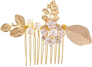Generic Vintage Pearl Rhinestone Flower Hair Comb Slides Wedding Party Hairpins