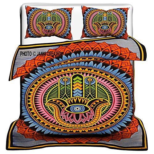 Copripiumino, copriletto mandala indiano coperta copripiumino, Queen Size, lenzuola e piumone copertura, Queen Size 100{1907372ca47acfc08a510aa6929c5cc1c4c67bd030ac311d1f9b5644afa75d59} cotone Set copripiumino con federa 82 X 84 inch
