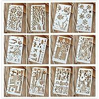 Lirener 12 Piezas Plantillas de Dibujo para Bullet Journal Diario Cuaderno de 8 Anillos Insertos de Papel, creación de niños, álbumes de Bricolaje, Tarjetas y proyectos, 8.5x17cm