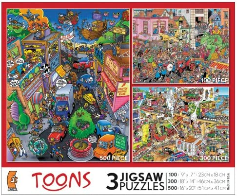 3 Jigsaw Puzzles (100-Piece, 300-Piece and 500-Piece) - Toons | Outlet Online Store
