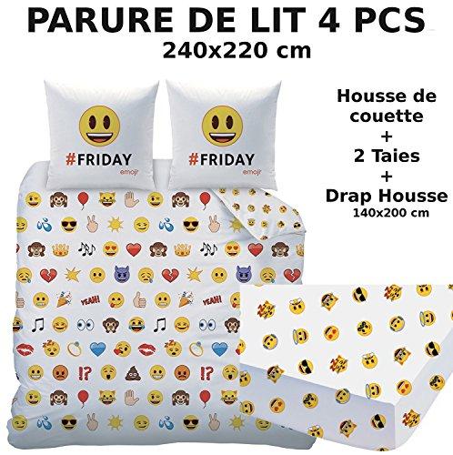 EMOJI EMOTICONS - Parure de lit (4pcs) - Housse de Couette (240x220) + 2 Taies d'Oreiller (63x63) + Drap housse (140x190) - Smiley