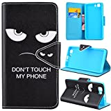 SMART LEGEND Lederhülle für Doogee X5 / X5 Pro Ledertasche Hülle Don't Touch My Phone Muster Design Schutzhülle Premium PU Schutz Leder Flip Case Wallet Protective Cover Innere Weiche Silikon Bookcase Backcover Handy Tasche Schale mit Kartenfächer Magnetverschluß Standfunktion Etui