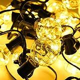 AMDUDU G40-Kugel-Schnur-Lichter, 25 LED-Lichterketten im Freien für Hinterhof Patio Lichter,Indoor/Outdoor Lichterketten für Weihnachten, Veranda, Zelte, Party, Cafe und Pavillon-Warmweiß